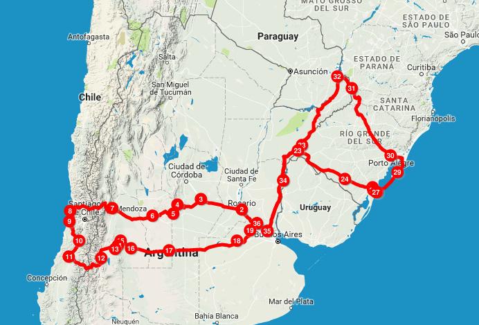 ruta chile brasil 2016